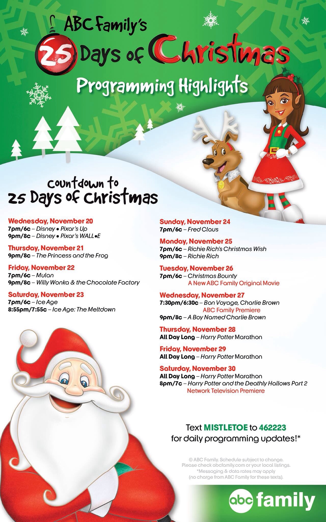 abc familys countdown to the 25 days of christmas 2013